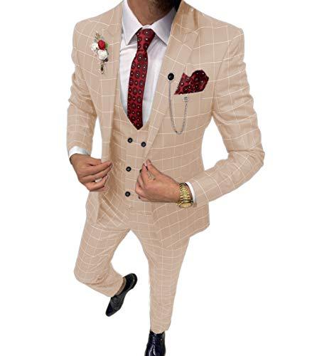 Costume 3 pièces pour homme à carreaux coupe slim Blazer smoking pour mariage garçon (blazer + gilet + pantalon), beige, 44