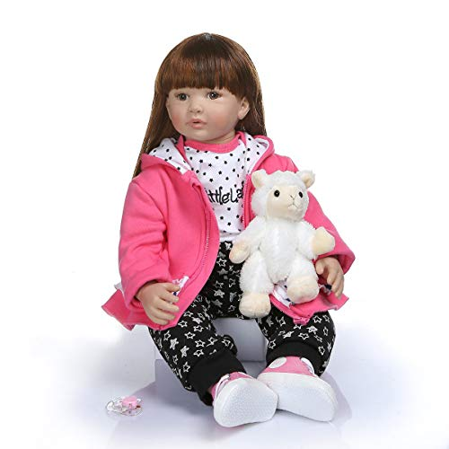 Terabithia 24 Pollici 60cm Rare Alive Big Real Baby Size 6-9Mese a Lungo Capelli Lisci Silicone Reborn Toddler Dolls in Hoodie Dress Peluche SheepToys Soft Stuffed Body Newborn Girl Doll