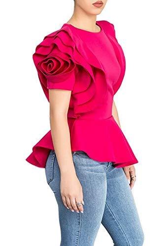 Blansdi Women Round Neck Ruffle Short Sleeve Peplum Bodycon Blouse Shirts Tops Rose Red XXLarge, US XL