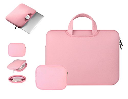 Anitech® Funda PC portátil/funda/estuche/maletín Mango bolsa, MacBook Laptop Funda para Apple iPad Pro y ordenador portátil/Macbook Pro/MacBook Air/MacBook Pro Retina Ultrabook/tablet/Asus – con bolsa accesorios gratis rosa Rose 15 - 15.6pouces