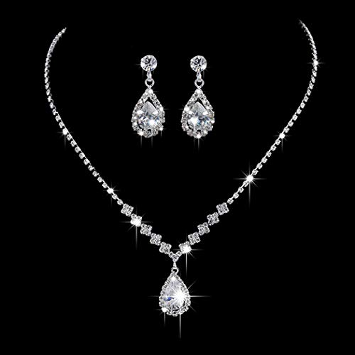 Aukmla Bride Wedding Necklace Earrings Set Silver Rhinestones Necklaces Bridal Crystal Jewelry Accessories for Women and Girls Necklace-023 (Set of 3)