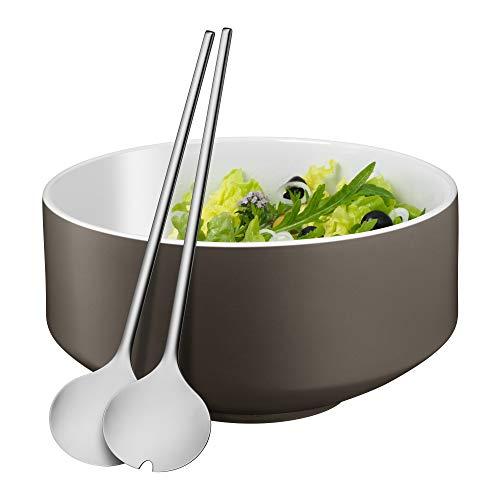 WMF Moto Salatschüssel Set 3-teilig, Salatbesteck 32 cm mit Salatschale, runde Schale Ø 26 cm, Porzellan, Cromargan Edelstahl poliert, spülmaschinengeeignet, grau