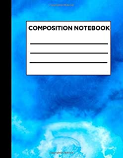Composition Notebook: Sky Blue Blank Lined Five Star Notebooks for Girls Teens Kids School Writing Notes Journal Large (8....