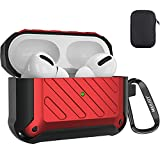 Maxjoy Compatible Airpods Pro Case Cover, Airpods Pro Protective Case Rugged Full-Body Hard Shell Shockproof Cover with Keychain Compatible with Apple Airpods Pro Charging Case Front LED, Red