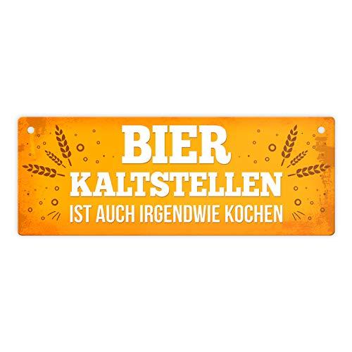 trendaffe - Bier Metallschild mit Weizen Motiv und Spruch: Bier...