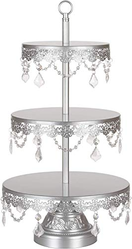 "'Sophia Collection'' 3 Tier Dessert Stand, Cupcake Tower with Crystal Beads and Dangles, 22"" Tall (Silver)"