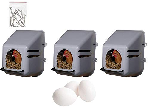 Lot de 3 pondoirs pour poules, nid de poules + 3 œufs...