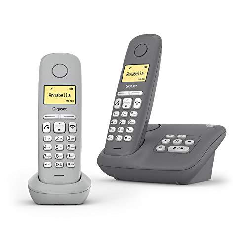 Gigaset A280A Duo - 2 telefoni cordless con segreteria telefonica - Qualità audio eccellente anche in vivavoce - Menu intuitivo basato sulle icone - Tasti a scelta rapida - Display grafico, grigio
