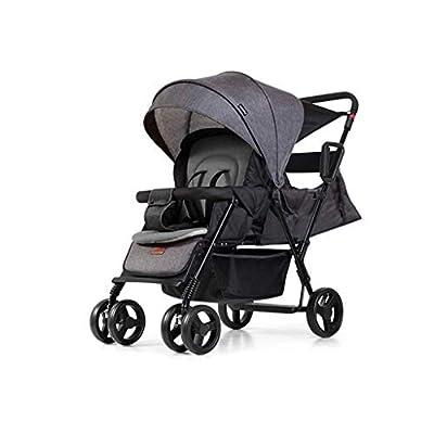 Twin Baby Strollers Respaldo Ajustable Doble Cara con Amortiguador Trolley cómodo y Plegable (Color: Gris)