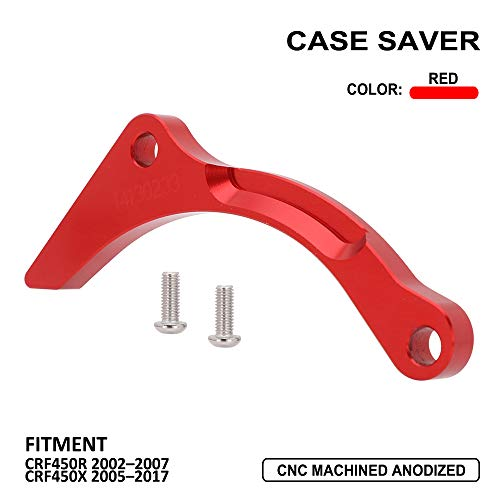 Engine Case Saver Case Protection CNC Billet Aluminum Compatible With Honda CRF450R 2002-2007 CRF450X 2005-2017 - Red