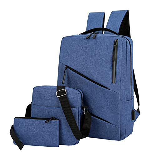 3 Pcs Laptop Backpack Set Slim Durable Laptops Backpack with USB Charging Port,Water Resistant Bags for Men Women - blue - One Size