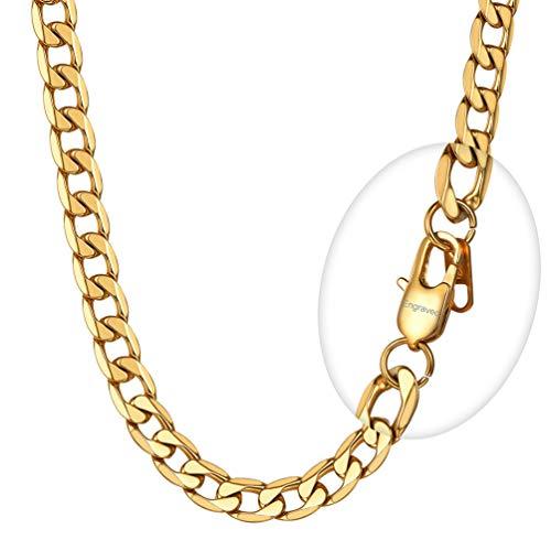 PROSTEEL Collar para Hombre Mujer, Cierre Personalizable Grabado DIY, Cadena Cubana 8 Longitud Opcional Dorado/Negro/Plateado, Ancho 4mm/6mm/9mm/13mm