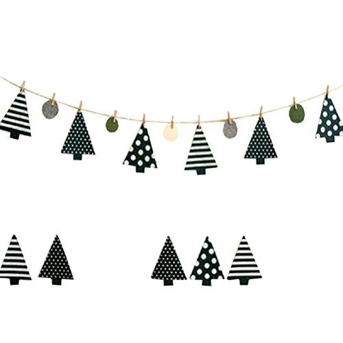 OULII Weihnachten Bunting Banner Weihnachtsbaum Girlande Flagge mit Holz Klammer Party Weihnachtsdekoration