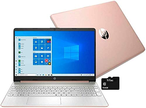 "2021 HP 15 15.6"" HD Laptop Computer, AMD Ryzen 5 3500U Quad-Core Processor (Beats Intel i5 8250U), 8GB DDR4, 256GB SSD, Webcam, USB C, HDMI, Bluetooth, WiFi, Windows 10, Rose Gold, TiTac Card"