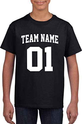 Custom T-Shirt Jersey | Youth Sizes | Add Your Team Name & Number| Unisex, 100% Cotton Black