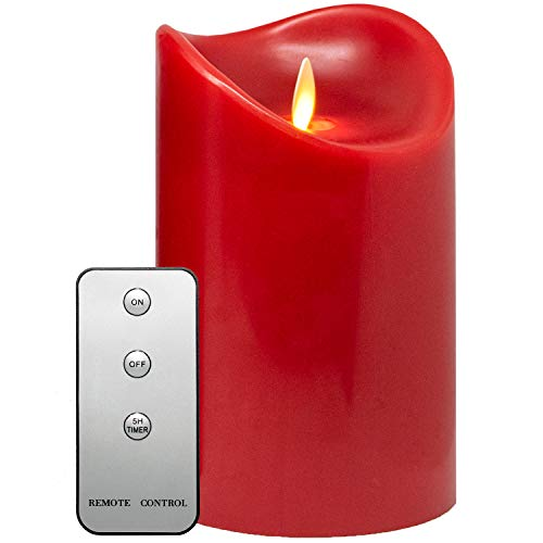 TRONJE 15cm LED Vela con Temporizador y Mando a Distancia Duración de 1000h Vela de Cera Real Rojo