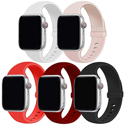 GZ GZHISY Pack 5 Sport Bands Compatible with Apple Watch Band 38mm 40mm, Soft Silicone Band Sport Strap Compatible for iWatch Series 6/SE/5/4/3/2/1 (White/Pinksand/Black/Red/Wine Red, S/M)