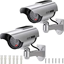 AlfaView Solar Powered Bullet Dummy Fake Surveillance Camera Security CCTV Dome Camera with LED Flashing Light for Outdoor/Indoor,Home/Business