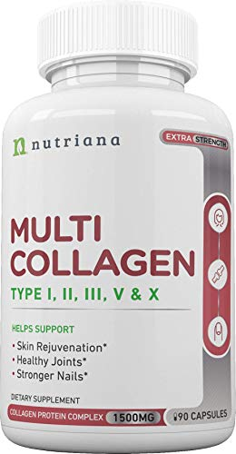 Best Multi Collagen Peptides Protein Pills Type I, II, III, V, X - Hydrolyzed Collagen Capsules for Women and Men for Anti-Aging, Hair, Joints and Bones - 90 Collagen Supplements 1500 mg