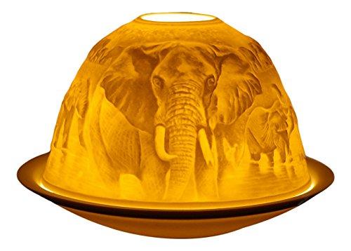 Himmlische Düfte Geschenkartikel GmbH Elefanten Windlicht, Porzellan, weiss, 12x12x8 cm