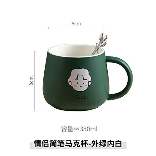Heliansheng Taza de Dibujos Animados Creativa Taza de cerámica para el hogar con Cuchara Taza de café Taza de Pareja Personalizada - Blanco y verde-400ml-G017
