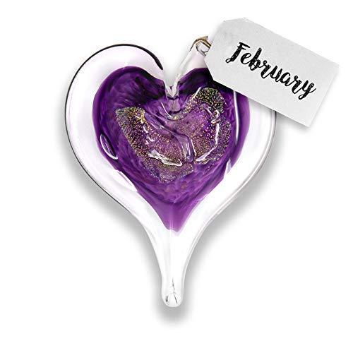 Luke Adams Glass | 3quot Glass Birthstone Heart | Handmade Suncatcher | Hanging Home Décor | Outdoor Garden Accent February  Amethyst