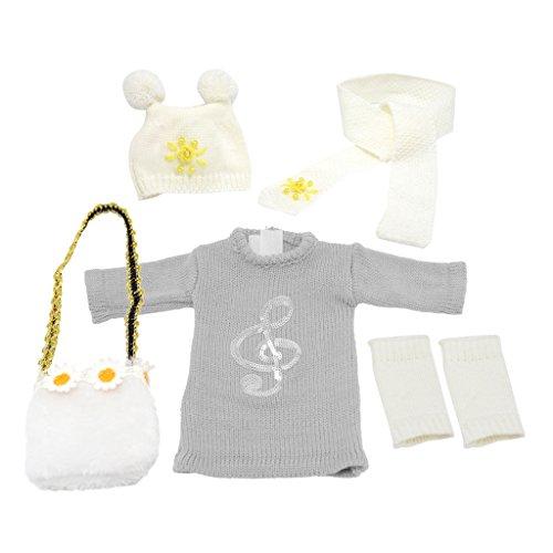 Homyl Modische Puppen Winter Kleidung Kleid, Hut, Schal, Socken, Rucksack Outfit Set Für 18 Zoll American Girl Puppe - Kleid + Hut + Schal + Socken + Rucksack - Grau