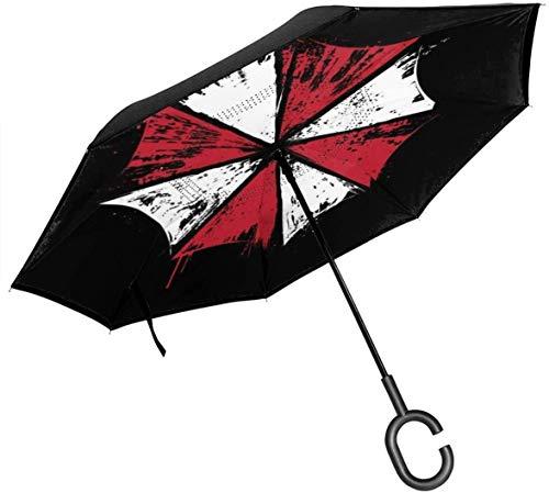 Resident Evil Umbrella Corp Ink Logo Paraguas invertido de Doble Capa para el automóvil Reversa Plegable Al revés Manos en Forma de C - Ligero y a Prueba de Viento y ndash; Regalo Ideal