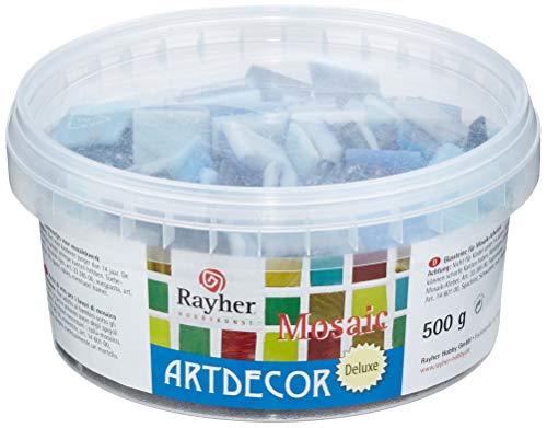 Rayher 1453408mosaico pietre ArtDecor Deluxe, 2cm, secchio circa 160pcs/500G, azzurro