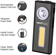 NextLED 500 Lumen Rechargeable Work Light COB LED with Magnetic Base and Hanging Hook, Durable Pocket-Sized Flashlight/Task Light, IPX4 Waterproof, Power Bank Function