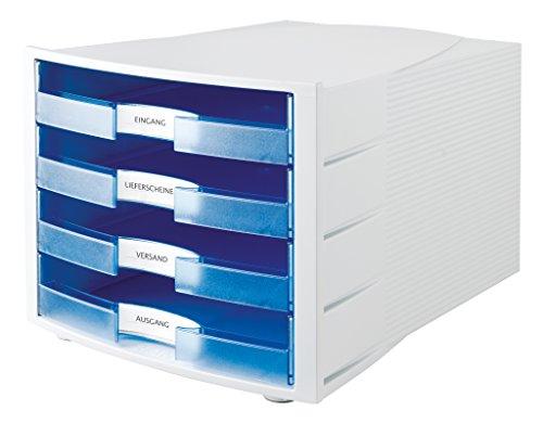 HAN Schubladenbox IMPULS in Lichtgrau/Transluzent-Blau / Stapelbare Sortierablage mit 4 großen, offenen Schubladen für DIN A4/C4 / inkl. Beschriftungsschilder