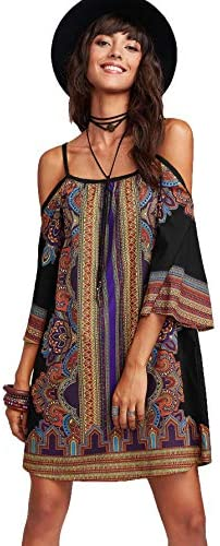Milumia Women s Vintage Print Kimono Sleeve Geometric Tunic Boho Dress Black Medium product image
