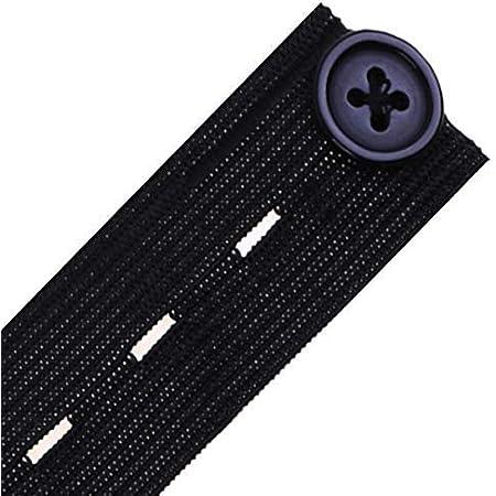 noir Prym en Boutonnière Élastique avec 3 boutons 12 mm 917511 3 m