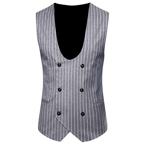 Deelin Blazer herenjack zonder mouwen, U-hals, dubbele knoopsluiting, slim fit vest, mantel mode, vintage blazer, formel, heren, M-XXXL