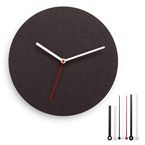 CLOKK 1-SS - Individualisierbare Minimal Designer Wanduhr schwarz, Ø 30 cm aus MDF mit leisem Uhrwerk ohne Ticken, inkl. 7 Zeigern, ideal für Zuhause und Büro
