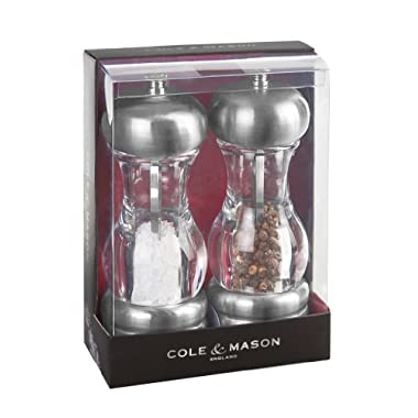 COLE & MASON Saturn Salt and Pepper Grinder Set - Stainless Steel Mills Include Gift Box, Precision Mechanisms and Premium Sea Salt and Peppercorns