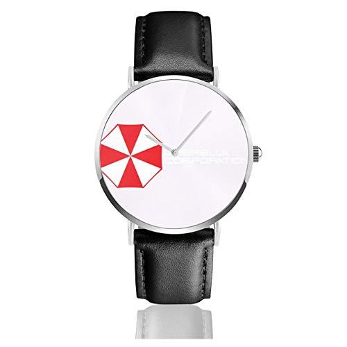 Reloj de Cuarzo Unisex con Logotipo de la corporación de Resident Evil Umbrella, Tapa de Camionero, Color Blanco y Negro, Correa de Piel Negra, Regalo de colección para Hombres y Mujeres jóven