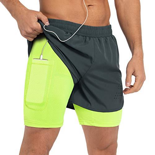 Gesean Mens Running Shorts,Workout Running Shorts for Men,2-in-1 Shorts,5-Inch Gym Outdoor Sports Shorts Dark Grey Medium
