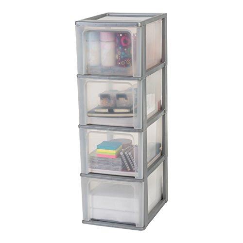 Iris Organizer Chest OCH-2400 Schubladencontainer-/ schrank, Kunststoff, silber / transparent, 35,5 x 26 x 80 cm
