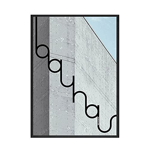 Póster abstracto de geometría de la Bauhaus, impresiones en lienzo de línea y círculo, imagen de estructura de la casa, decoración de arte de pared nórdica C 60x80cm