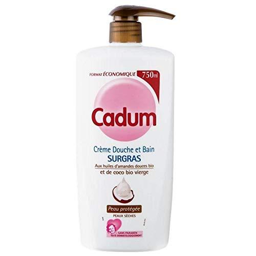 Cadum Crème Douche Surgras Huile d'Amandes Douces Bio et de Coco Bio Vierge 750ml (lot de 3)