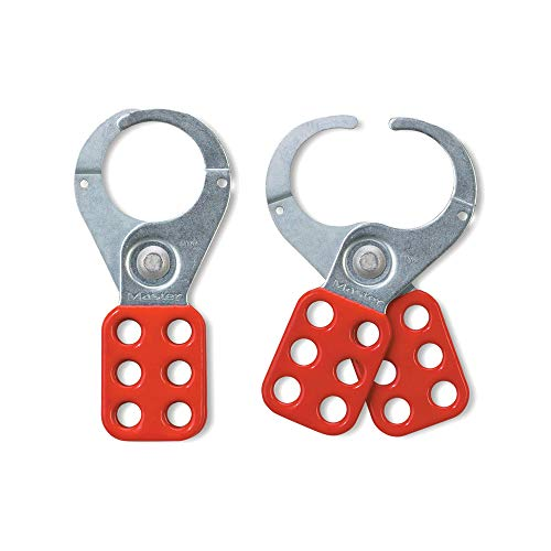 Master Lock 421 Lockout Tagout Hasp with Vinyl-Coated Handle and Extended Jaw, Red