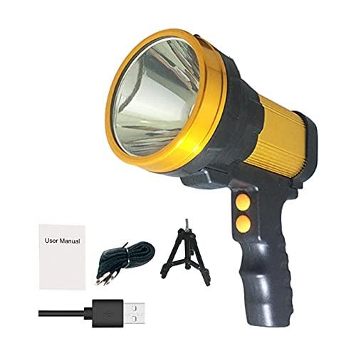Foco de mano, linterna LED superbrillante de 6000 lúmenes, aleación de aluminio, potente foco inalámbrico, batería grande, reflector LED de 10000 MAH para el hogar, camping al aire libre