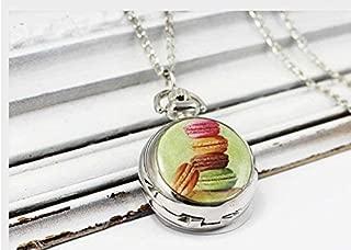 Macarons reloj de bolsillo, colgante de macarrones, collar de macarrones, color pastel, verde, cadena de reloj, joyería de plata vintage, joyería de arte de imagen, colgante de moda,