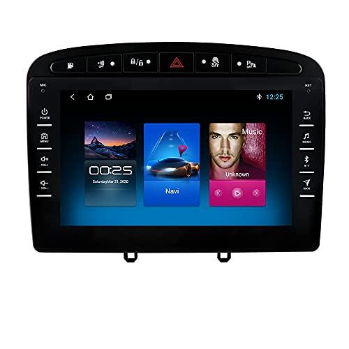 Autoradio para Peugeot 308 308S 408 2012-2020 GPS Navi para Peugeot Android Radio Bluetooth Manos Libres Control del Volante WiFi 4G USB Enlace Espejo Dab+ Entrada de Vista Trasera Negro