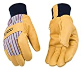 Kinco - Lined Premium Pigskin Leather Work and Ski Gloves, Heatkeep Thermal Insulation, Otto Striped Canvas, Fitted Knit Wrist, (Style No. 1927KW)