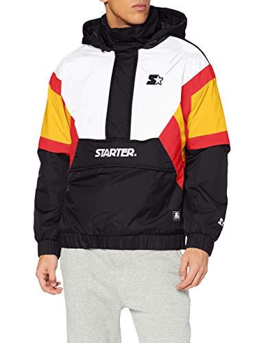 STARTER BLACK LABEL Herren Color Block Half Zip Retro Jacket Windjacke, Black/wht/Starter red/golden, XXL