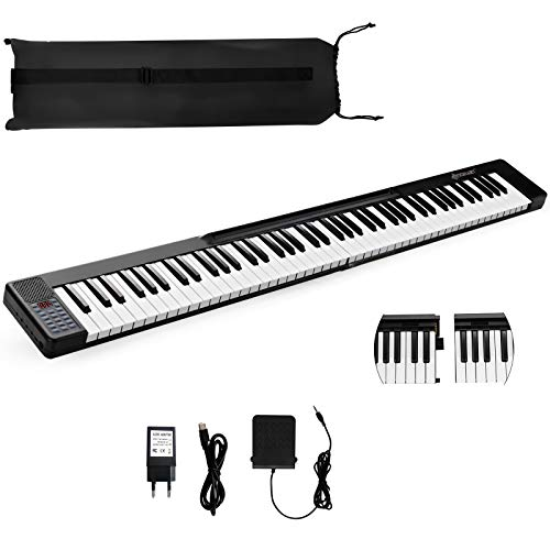 Costzon 88 Key Attachable Electric Piano Keyboard, Portable Full-Size Touch Sensitive Keys with 128 Rhythms/Tones, Stereo Speakers, Sustain Pedal, Bluetooth, Piano Bag for Beginners Kids Adult (Black)