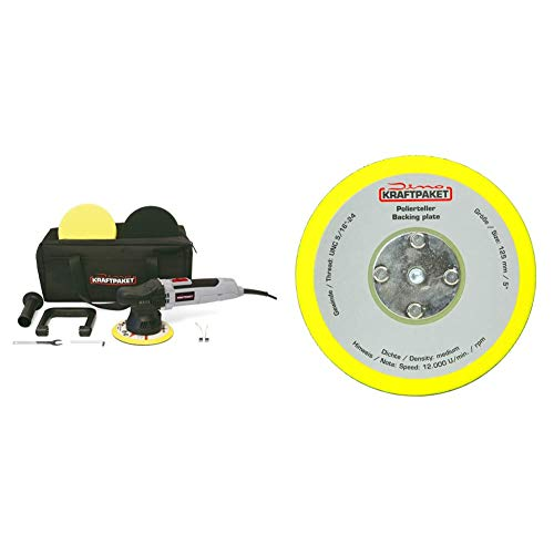 Dino KRAFTPAKET 640220 9mm-650W Exzenter Poliermaschine Stufenlos im Set mit Polierschwamm Polierteller Tasche & 125mm-Stützteller-5/16-24 mit Klett Polierteller für Exzenter Poliermaschine 600W-8mm