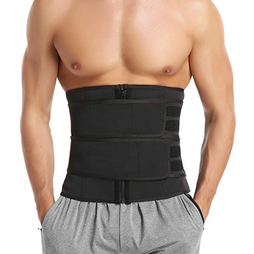 MISS MOLY Sauna Waist Trimmer Belt, Wide Neoprene Workout Waist Trainer with Double Straps for Men Weight Loss Back Support Sport Girdle